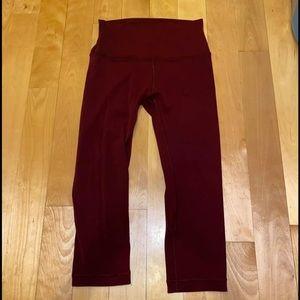 lululemon athletica Pants & Jumpsuits - Maroon lululemon crop aligns size 6